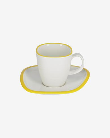Odalin porcelain cup and saucer in yellow and white