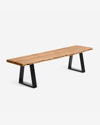 Alaia bench in solid acacia wood with black steel legs 180 cm