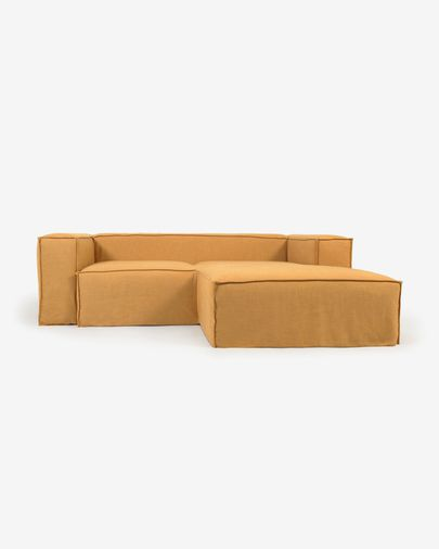 Blok 2-seater sofa with right-head chaise longue and removable covers in mustard linen 240