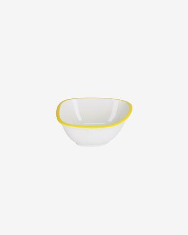 Ciotola piccola Odalin in porcellana bianca e gialla