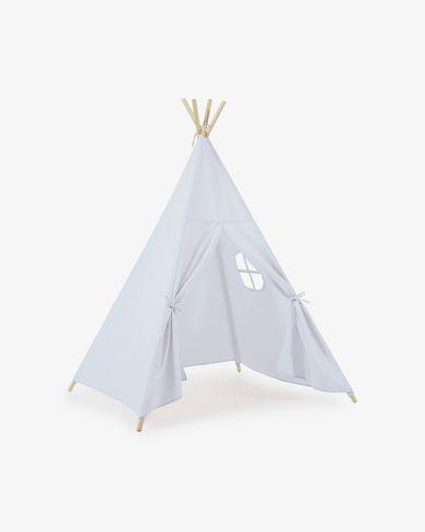 Namiot Teepee Darlyn 100% niebieska bawełna i nogi z litego drewna sosnowego