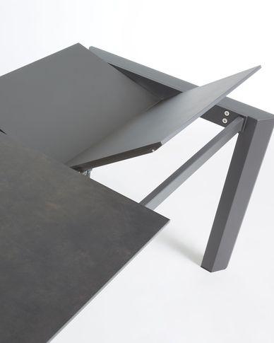 Axis uitschuifbare tafel 120 (180) cm porselein afwerking Vulcano Roca antraciet benen