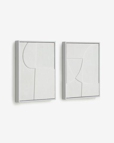 Set Beija di 2 quadri bianchi 32 x 42 cm
