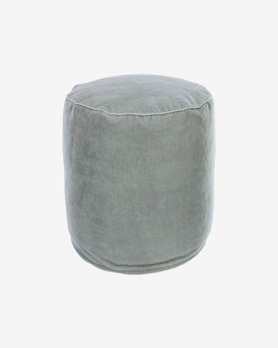 Puf redondo Brunetta de terciopelo turquesa claro Ø 40 cm