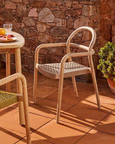 Sheryl stoel gemaakt van massief eucalyptus en beige koord