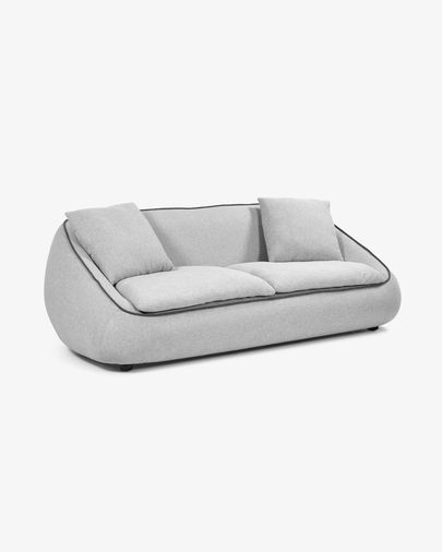 Light grey 3-seater Safira sofa 220 cm