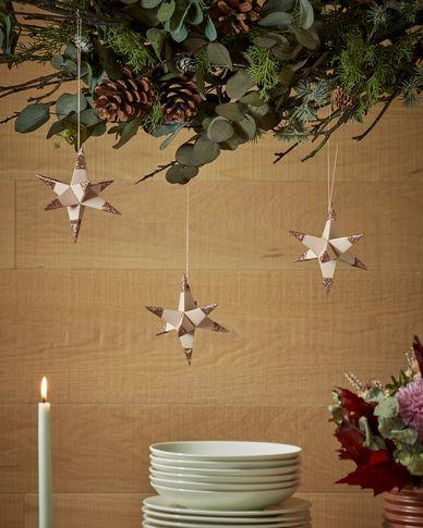 Belalia set van 3 decoratieve sterren roze