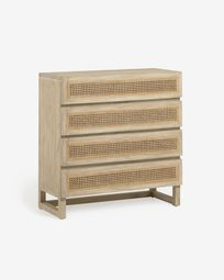 Rexit solid mindi wood and veneer chest of 4 drawers with rattan 90 x 93 cm