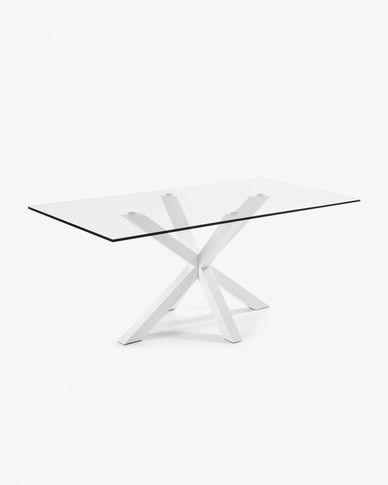 Argo table 200 cm glass white legs