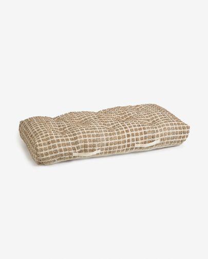Vloerpalletkussen Adelma van jute en wit natuurlijk katoen 60 x 120 cm