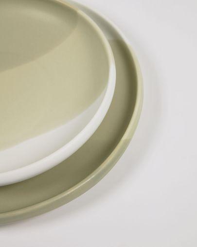 Talerz deserowy Sayuri z zielonej i białej porcelany
