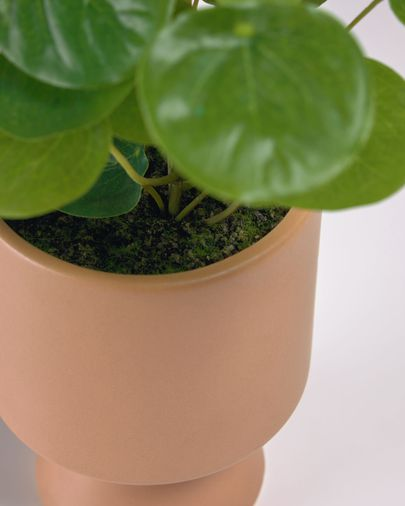 Planta artificial Bailey con maceta de cerámica rosa 21,6 cm