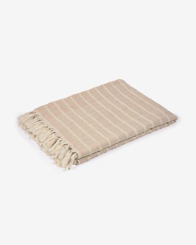 Plaid Sweeney 100% coton rayures blanc et beige 170 x 130 cm