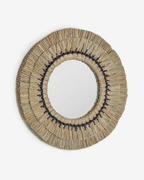 Miroir rond Akila fibres naturelles beige et corde coton noir  Ø 60 cm