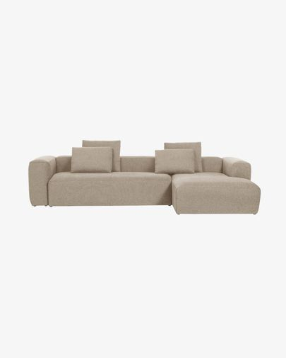 Blok 3-seater sofa with right-hand chaise longue in beige 330 cm