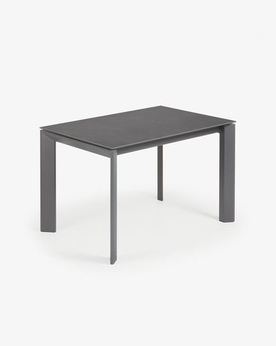 Table extensible Axis 120 (180) cm grès cérame finition Vulcano Roca pieds anthracite