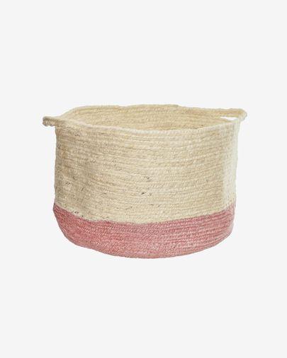 Cesta Adabel de yute natural y color rosa