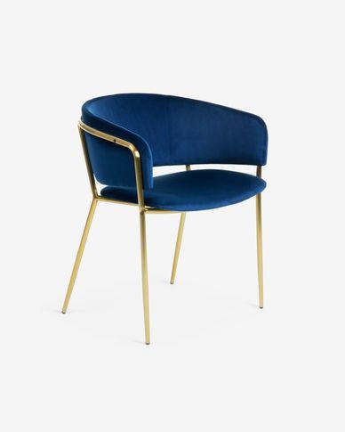 Cadira Runnie de vellut blau