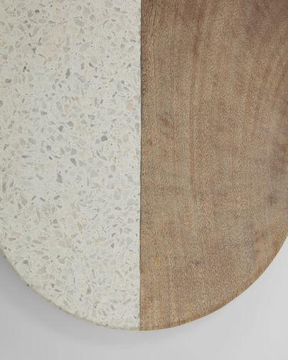 Tabla de servir Augustine de mármol blanco y madera de mango
