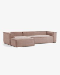 Blok 3-seater sofa with left-hand chaise longue in pink corduroy 330 cm