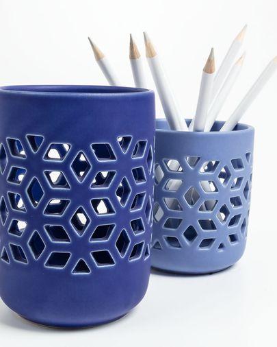 Leti 2er-Set Kerzenständer, blau