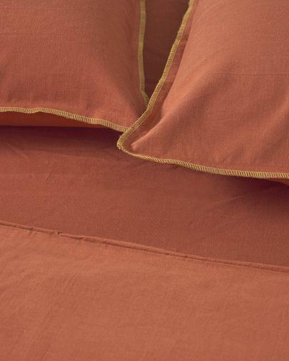 Set Ibelis funda nórdica, bajera y funda almohada algodón orgánico GOTS granate 145x190 cm