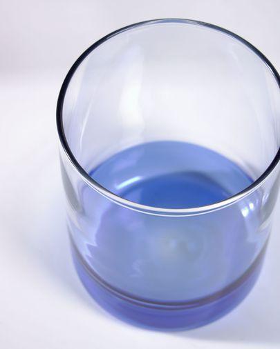 Vaso Dorana vidrio transparente y azul