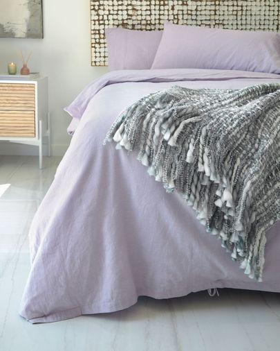 Manta Persis gris y blanco 125 x 150 cm