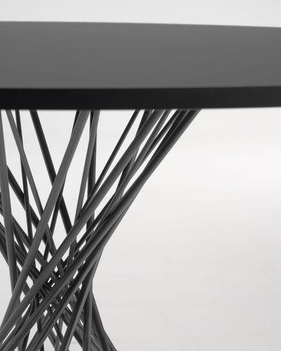 Tafel Niut rond melamine met zwarte finish en stalen poten met zwarte finish Ø 120 cm