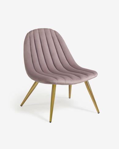 Sedia Marlene in velluto rosa con gambe in metallo con finiture dorate