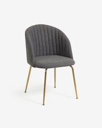 Krzesło Lumina ciemnoszare nogi stalowe wykończenie złote