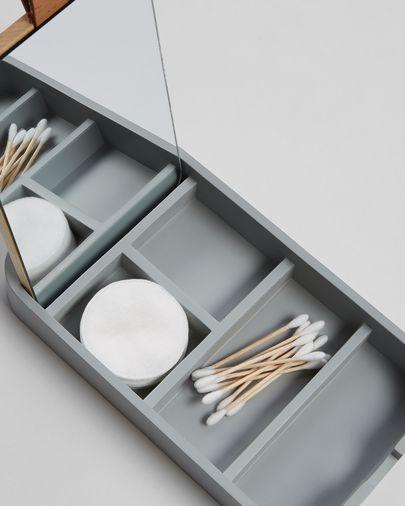 Carrol Box mit Spiegel 4 x 23 cm aus grauem Polyresin