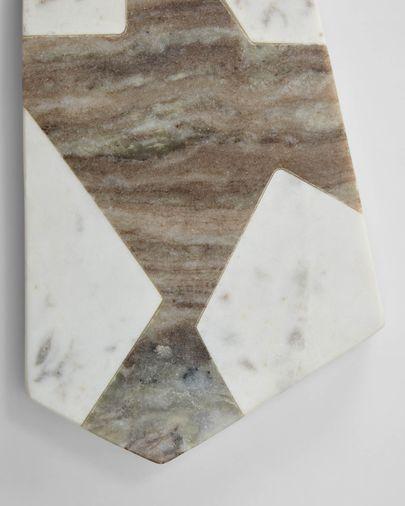 Plateau Vanina triangulaire en marbre blanc et gris