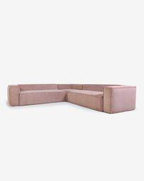 Blok 6-seater corner sofa in pink corduroy 320 x 320 cm