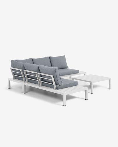 Set d'exterior Duka de sofà raconer 5 places i taula d'alumini blanc