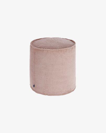 Kleiner Zina Pouf Ø 40 cm, rosa Kord