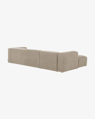 Blok 3-seater sofa with left-hand chaise longue in beige 330 cm