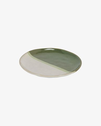 White and green Naara dessert plate