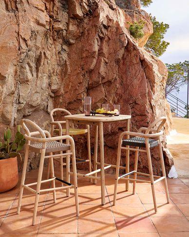 Table haute Sheryl en bois massif d'eucalyptus 75 x 75 cm FSC 100%