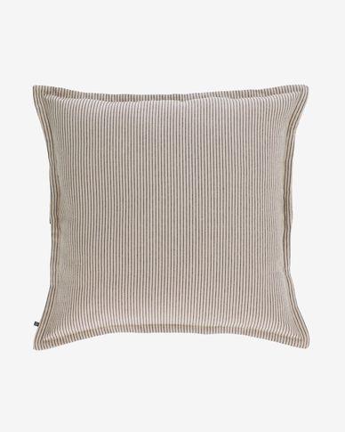 Housse de coussin Aleria coton rayures marron et beige 60 x 60 cm