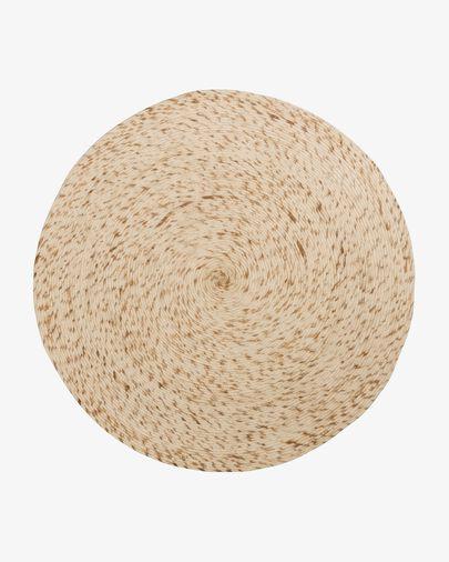 Alfombra redonda Takashi 100% lana beige Ø 200 cm
