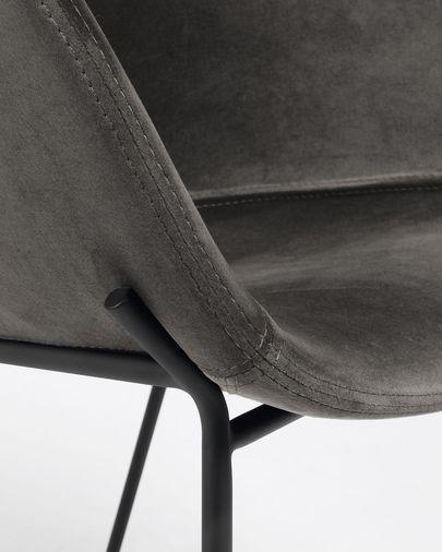 Sgabello Yvette velluto grigio altezza 74 cm