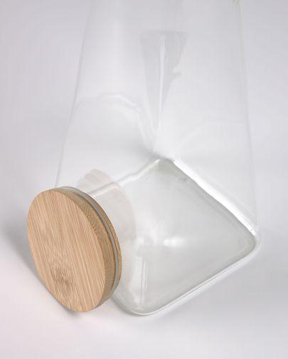 Bote grande Adalis de vidrio transparente y madera de  bambú