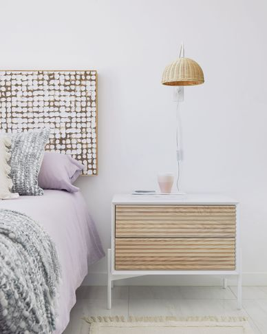 Marielle bedside table made from ash wood with white lacquer 64 x 54 cm