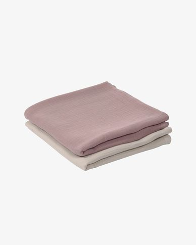 Set of two 100% organic muslin cotton (GOTS) Hilen muslins in beige and pink