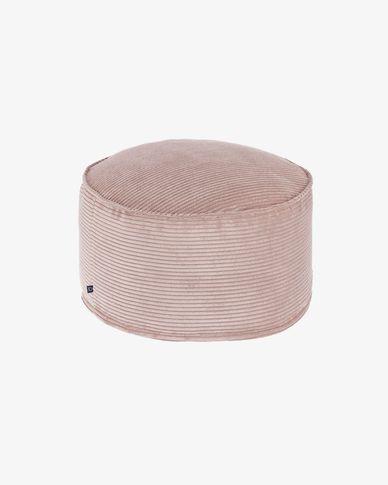 Pouf grande Wilma Ø 70 cm velluto a coste rosa