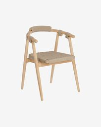 Majela solid eucalyptus wood chair with oak effect finish and beige rope FSC 100%