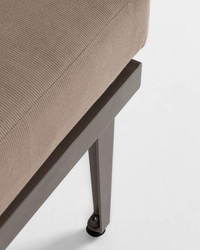 Pascale Set aus Sofa, Chaiselongue & Beistelltisch Aluminium grau und Akazienholz FSC 100%