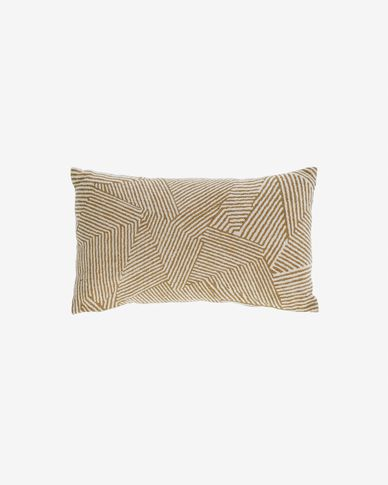 Devi 100% cotton cushion cover with beige and brown stripes 30 x 50 cm