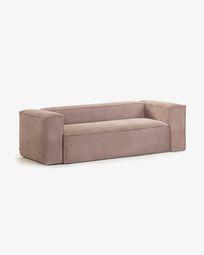 Pink velveteen 3-seater Blok sofa 240 cm